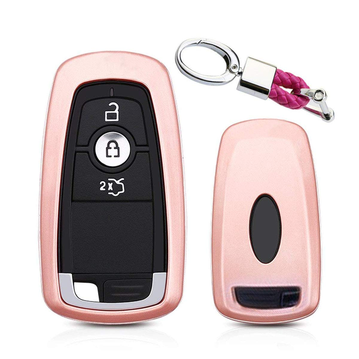 MODIPIM Keyless Entry Remote Case Key Fob Cover with Keychain(Braided Cord) ABS Hard Holder Shell Fit Ford Mondeo 3/4/5-Buttons Smart Key Color Pink