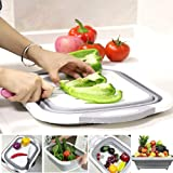 Wazdorf Collapsible 3 in 1 Multi Functional Kitchen Foldable Cutting,Chopping Board,Vegetable,Fruit Washing,Dish Tub Storage Basket with Draining Plug Board Dish Sink Tub Vegetable Basket