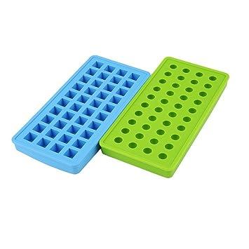 Molde de silicona para mini bolas de hielo de 40 cavidades y molde de silicona cuadrado ...