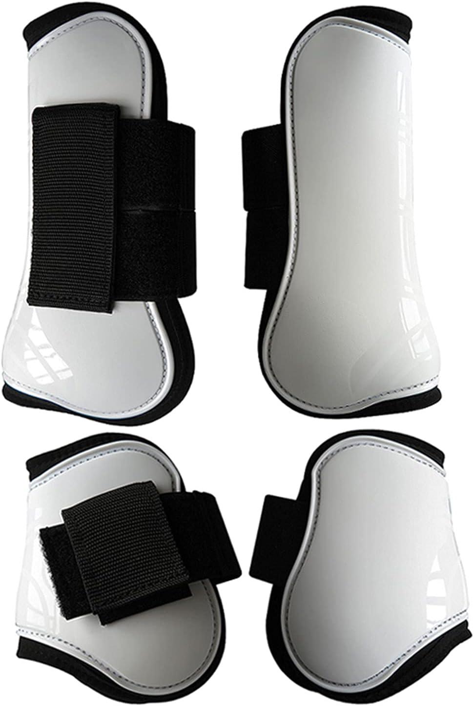 ARbuliry 4 en 1 Botas de Caballo, Elasticidad de la Bota de la Pierna del Caballo de Espesor para los Viajes de Salto de formación Anti-Choque Frente Botas de la Pierna Trasera (Blanco M)