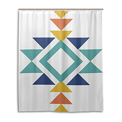 Aztec Shower CurtainAbstract Pattern With Colorful Design Indigenous Culture PrintFabric Bathroom