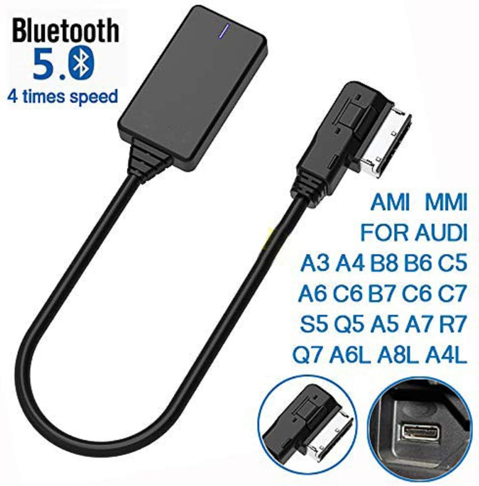 Fits for Audi MMI 3G System Only Bluetooth 5.0 AMI MMI MDI Audi Bluetooth Adapter Audio Music Interface Cable for iPhone Android Phone Bluetooth Capable Devices for Audi VW Car