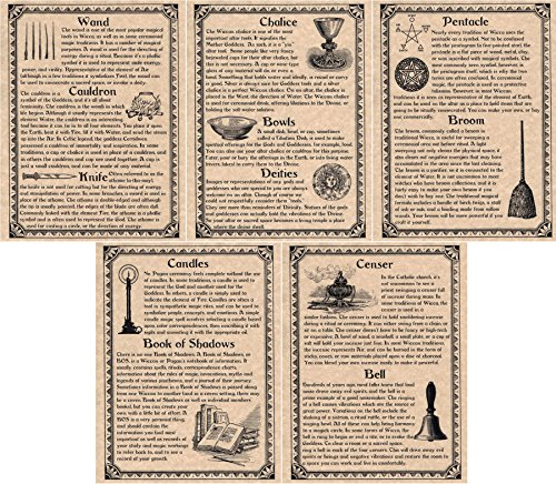The Grimoire Book of Shadows Pages, Set of 5 Pages on Wiccan Ritual Tools and Supplies, Witchcraft (Copper)