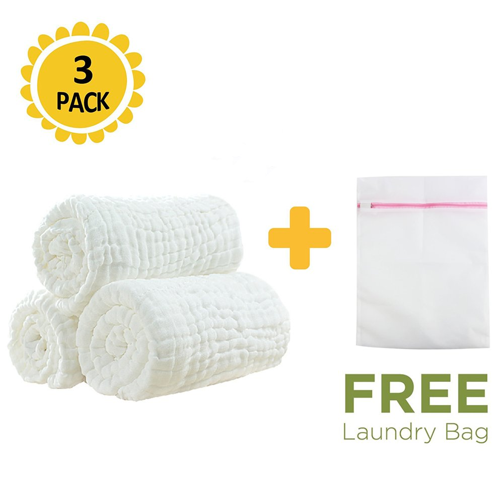 100% Medical Grade Natural Cotton,Super Water Absorbent,Soft and Comfortable,Suitable for Baby's Delicate Skin,Cotton Gauze Warm Baby Bath Towels Also for Baby Blanket - 3 Pcs by LOVEMY
