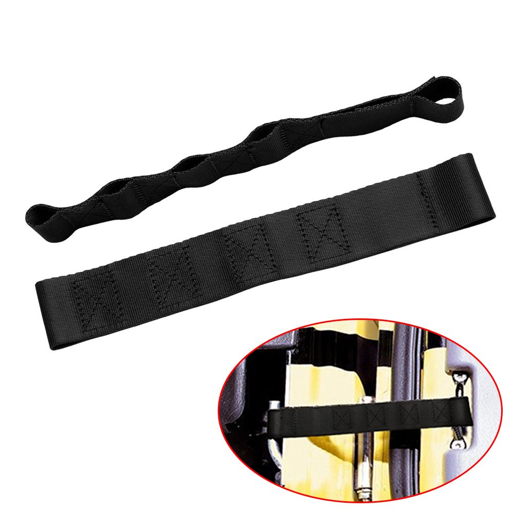 Early Bus 4350397454 2PCS-Black DUAL Heavy Duty Strong Adjustable Door Limiting Check Strap Perfect for JEEP Wrangler Black Pack of 2