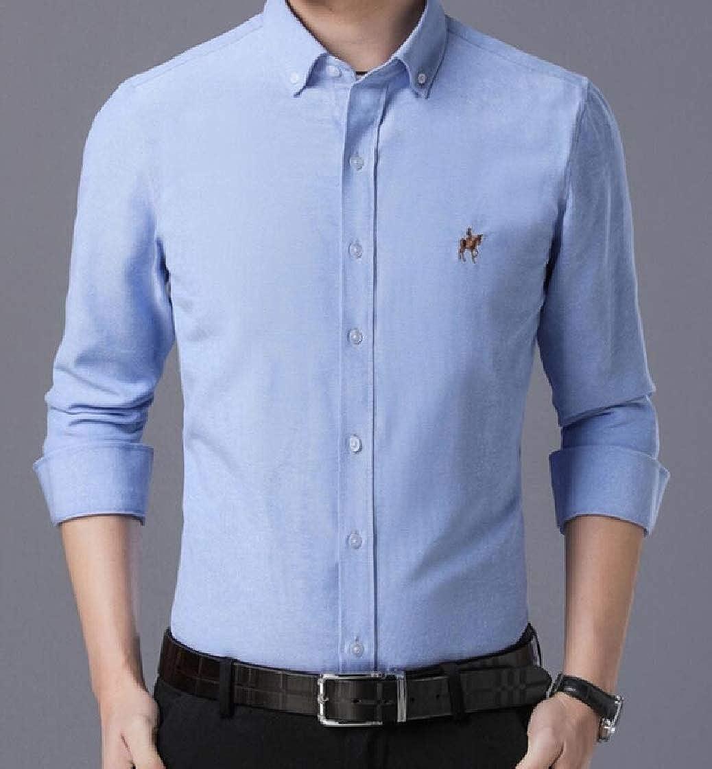 Jofemuho Men Button Down Oxford Fashion Chest Pocket Business Dress Shirts