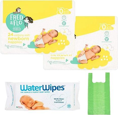 TESCO FRED & FLO - Pañales para bebés (pack de 4 unidades, 24 x 2 ...