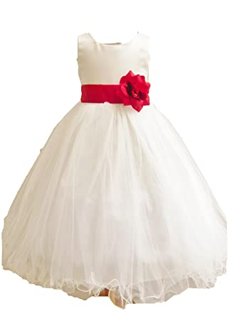 Amazon hmf ivory red flower girl dress curly bottom with black hmf ivory red flower girl dress curly bottom with black sash and flower mightylinksfo Gallery