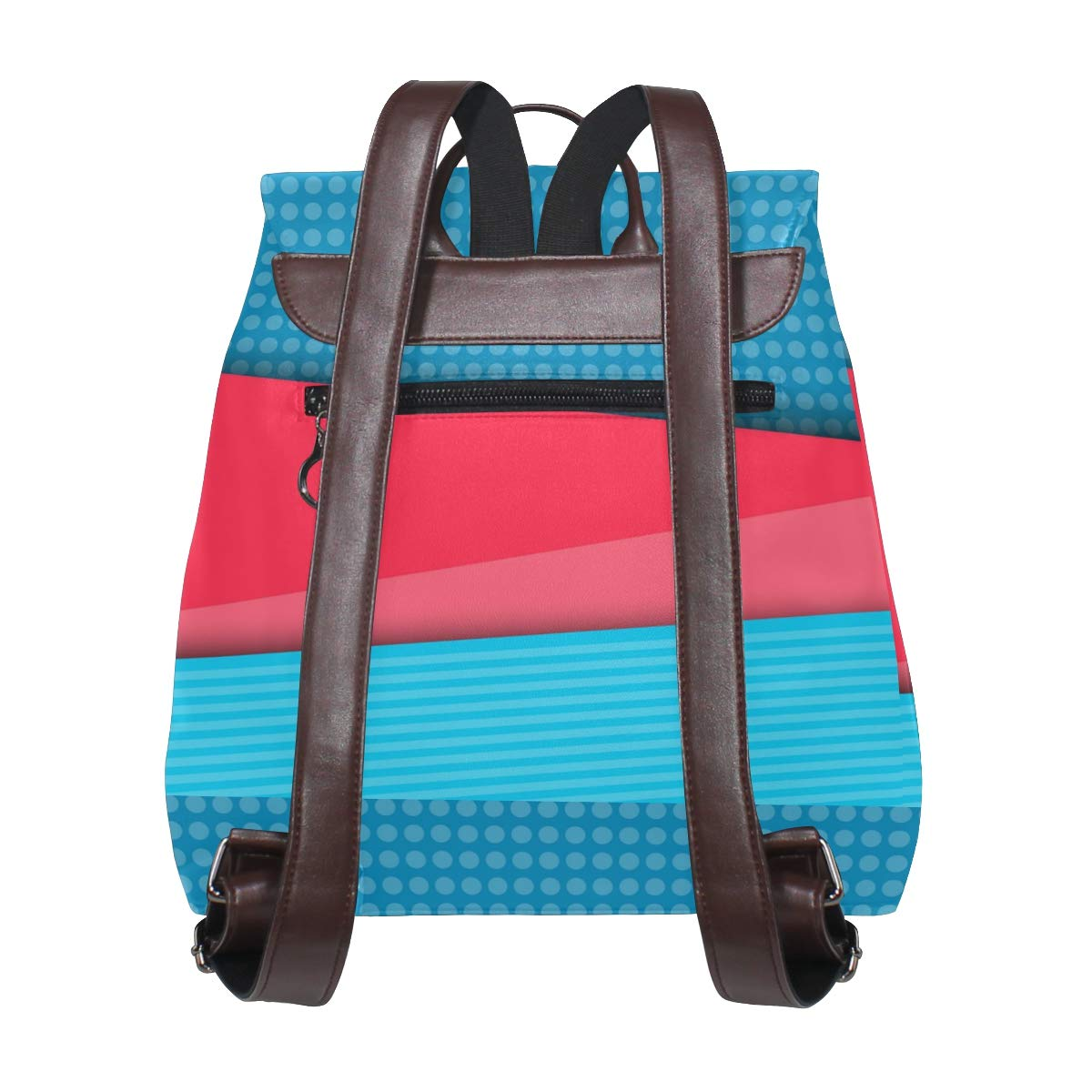 PU Leather Shoulder Bag,Blue Red Backpack,Portable Travel School Rucksack,Satchel with Top Handle