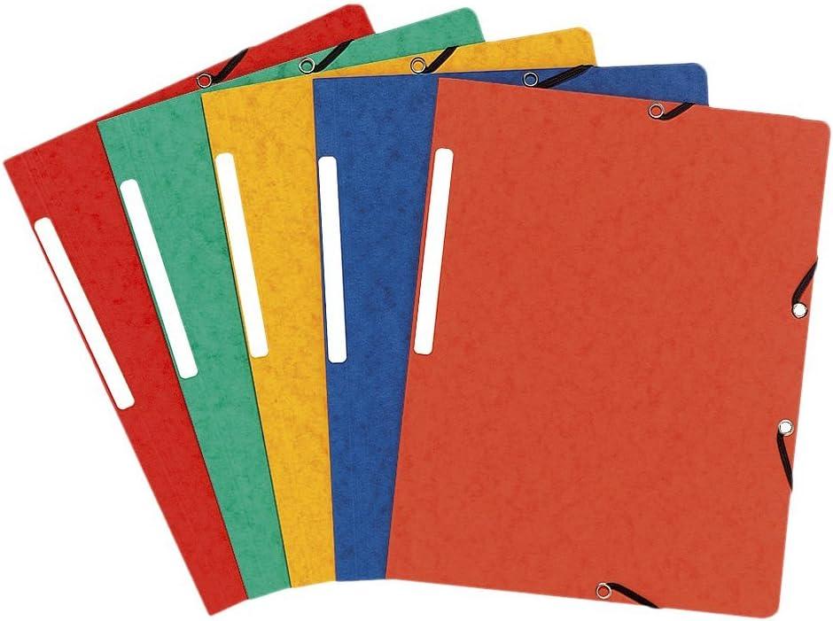 multicolore colore Exacompta 51025E-Confezione da 25 cartelline a 3 ali con elastico
