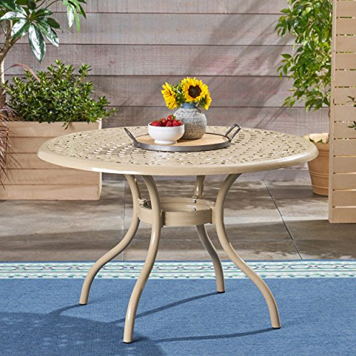Great Deal Furniture 305653 TSA Outdoor Cast Aluminum Round Dining Table, Sand ()