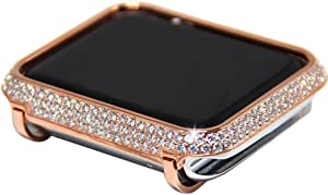 Callancity 42mm Crystal Metal Face Cover Rose Gold Compatible With Apple Watch Series 1 2 3 Edition For Men/Women