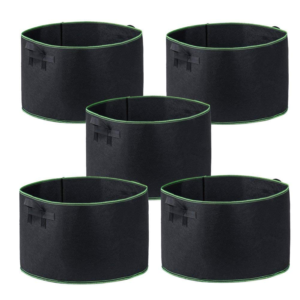 Garden4Ever Grow Bags 5-Pack 25 Gallon Aeration Fabric Pots Container with Handles