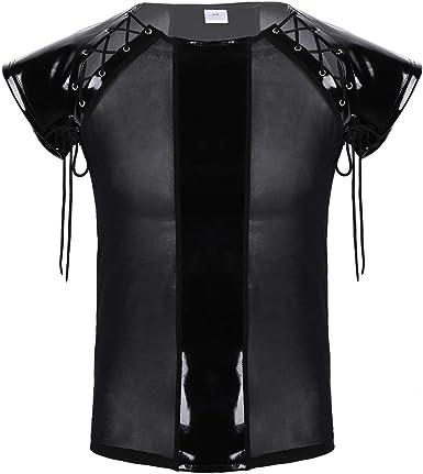 Camisa De Malla De Cuero PU De Ner Festival de Moda para Hombre Camisa De Manga Corta para Hombre Camisa De Fitness De Corte Y Capucha con Calentamiento En Caliente para Hombres: