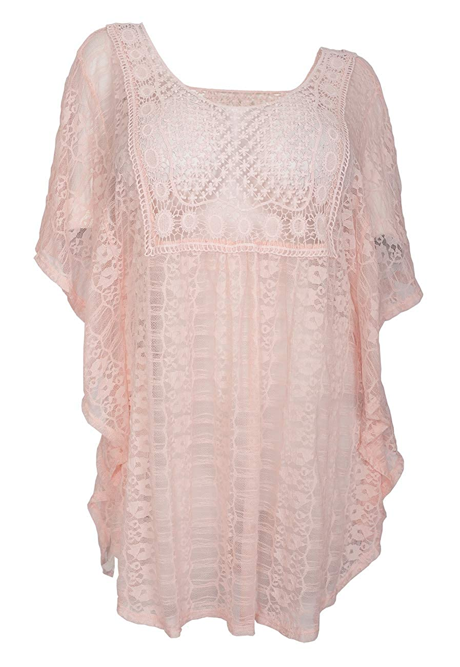 4dfd12da9 eVogues Plus Size Sheer Crochet Lace Poncho Top Made in USA at Amazon  Women's Clothing store: Fashion T Shirts
