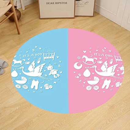 Amazon.com: Gzhihine Custom round floor mat Gender Reveal ...