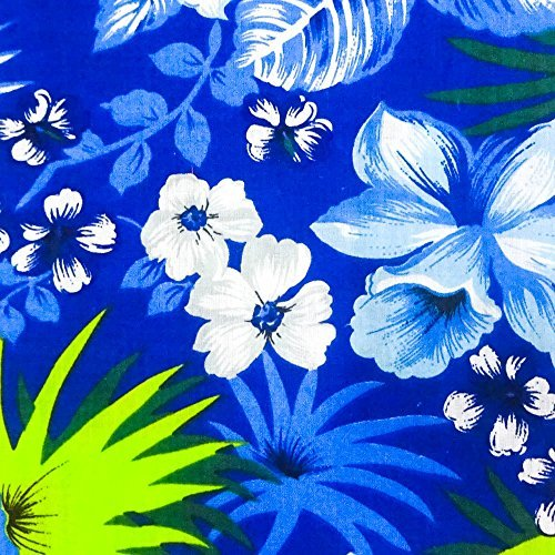 Hawaiian Floral Blue Poly Cotton, 58