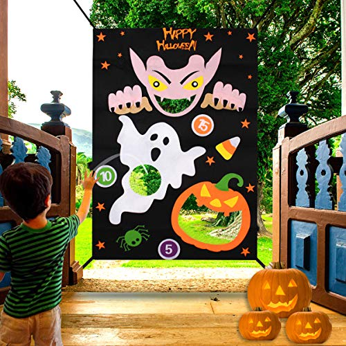 FengRise Halloween Bean Bag Toss Game - Funny Halloween Game Kit with Ghost Pumpkin Pattern Banner, Three Bean Bags for Kids Outdoor Indoor Halloween Party Decorations.
