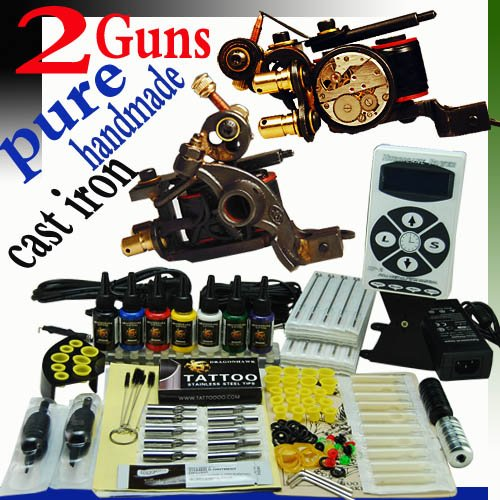 Professional Complete Tattoo Kit 2 Top Luo's Pure Handmade Cast Iron Tattoo Machine Gun Liner and Shader 7 Color Ink 50 Needles Power Supply