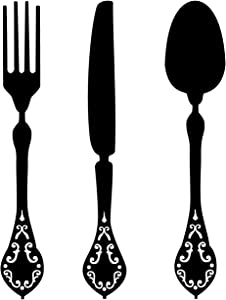 CustomVinylDecor Silverware Utensils Vinyl Wall Decal | Knife, Fork, and Spoon Silhouette Vinyl Sticker for Dining Room, Kitchen, or Restaurant Decor | Small, Large Sizes