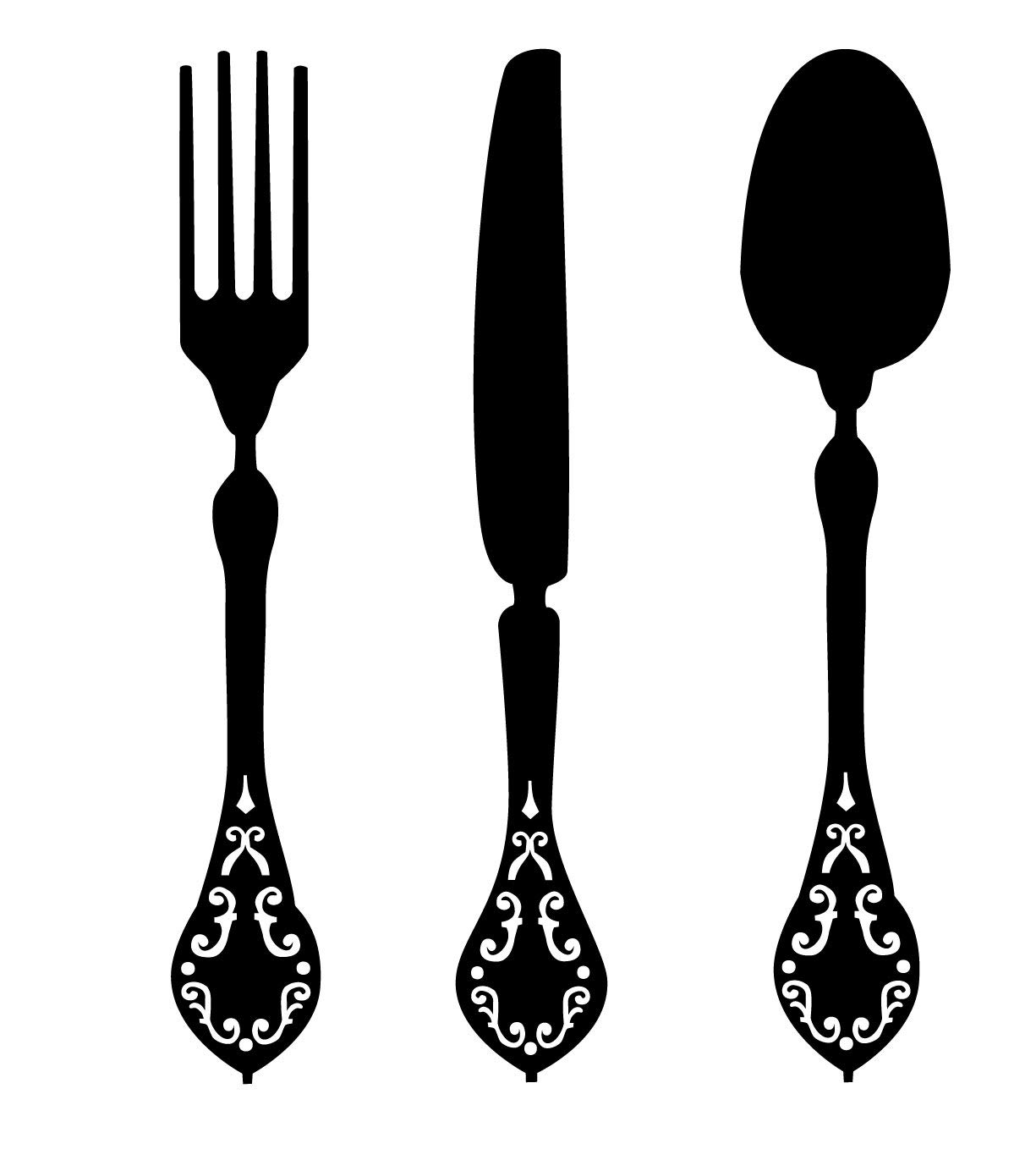 Fork, Knife and Spoon Elegant Vinyl Designs - Kitchen or Dining Room Wall Decals for Home or Restaurant Decor, 36-inch Tall, Black