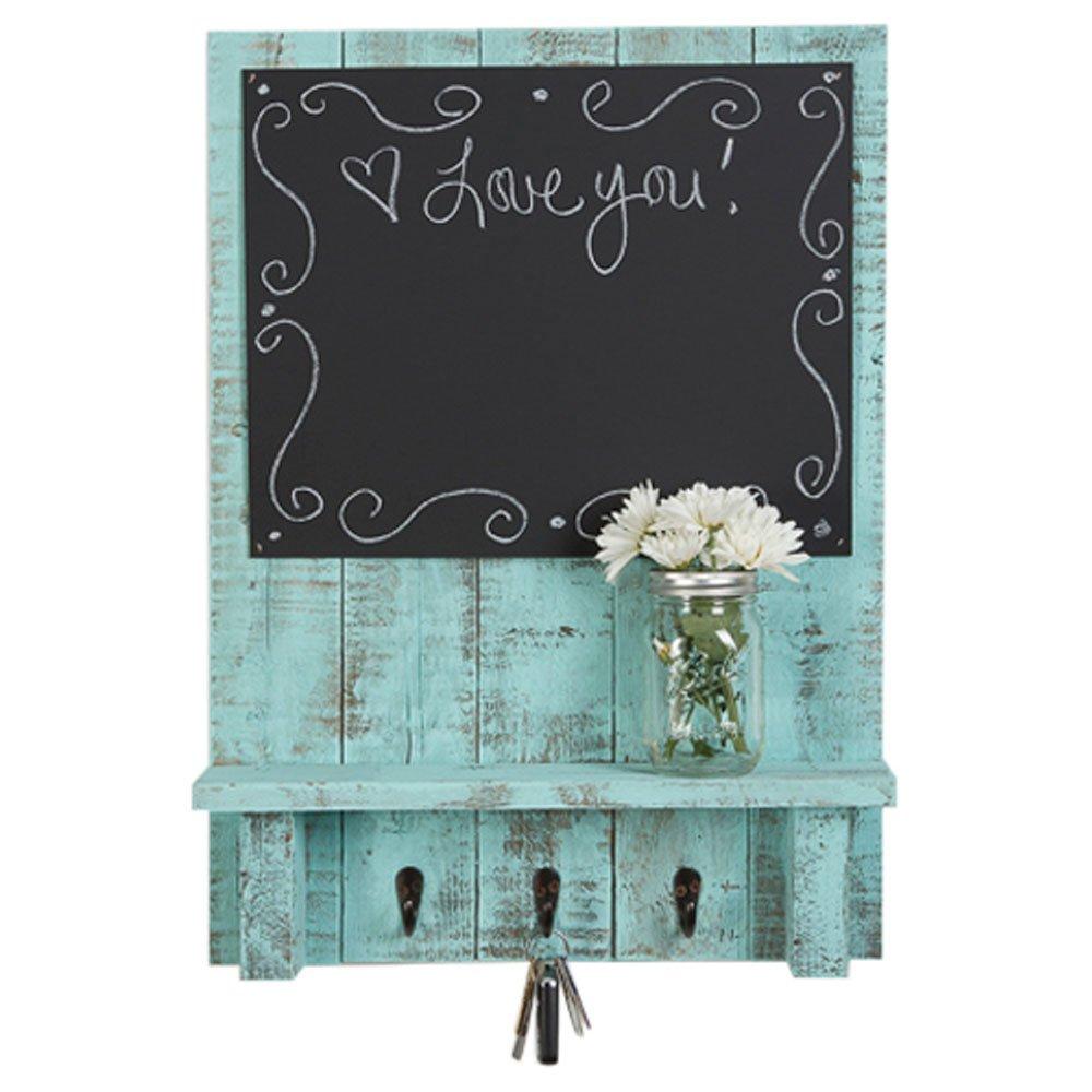 Drakestone Designs Chalkboard Display Shelf Key Hooks   Wall Mount   Handmade Rustic Reclaimed Wood   24 x 17.5 Inch - Turquoise
