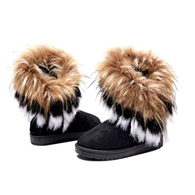 5Sheepgs Women Winter Warm High Long Snow Ankle Boots Faux Fox Rabbit fur Tassel Shoes