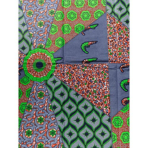 African Print Fabric Super Deluxe Wax Orange Green Blue Shrimp Design 6 Yards for Dressing sw1512_2
