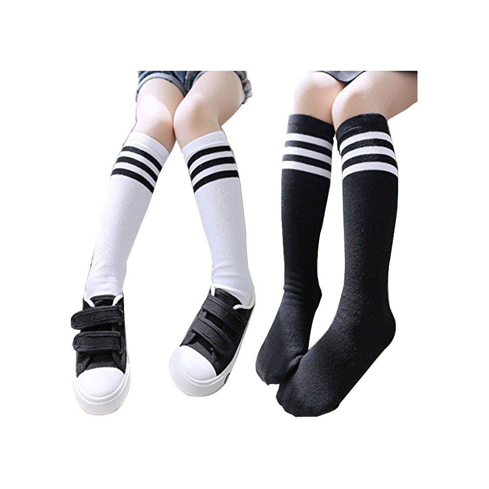 Girls Socks Toddler Knee High Stockings 2PC Running Socks For 3-10 Years Verala
