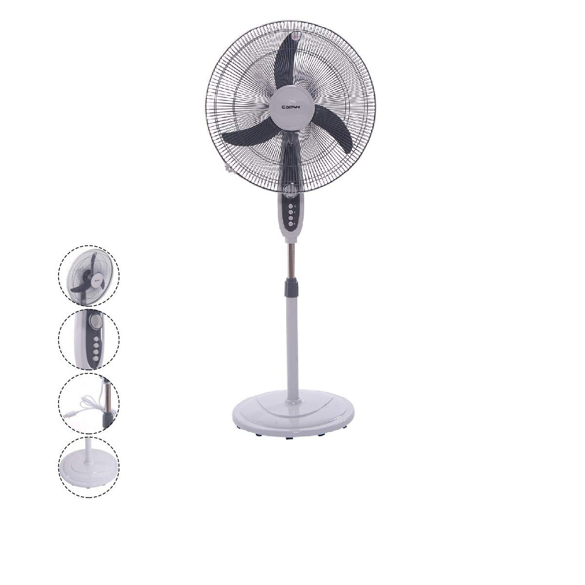 NEW Oscillating Standing Floor Fan Pedestal Powerful Electric Large 18 Inch.Quiet 3 Speed Ideal For Bedroom Living Room Office Home.High Velocity Cold Air Flow Cooler Adjustable Angle Auto Shut Off.HQ