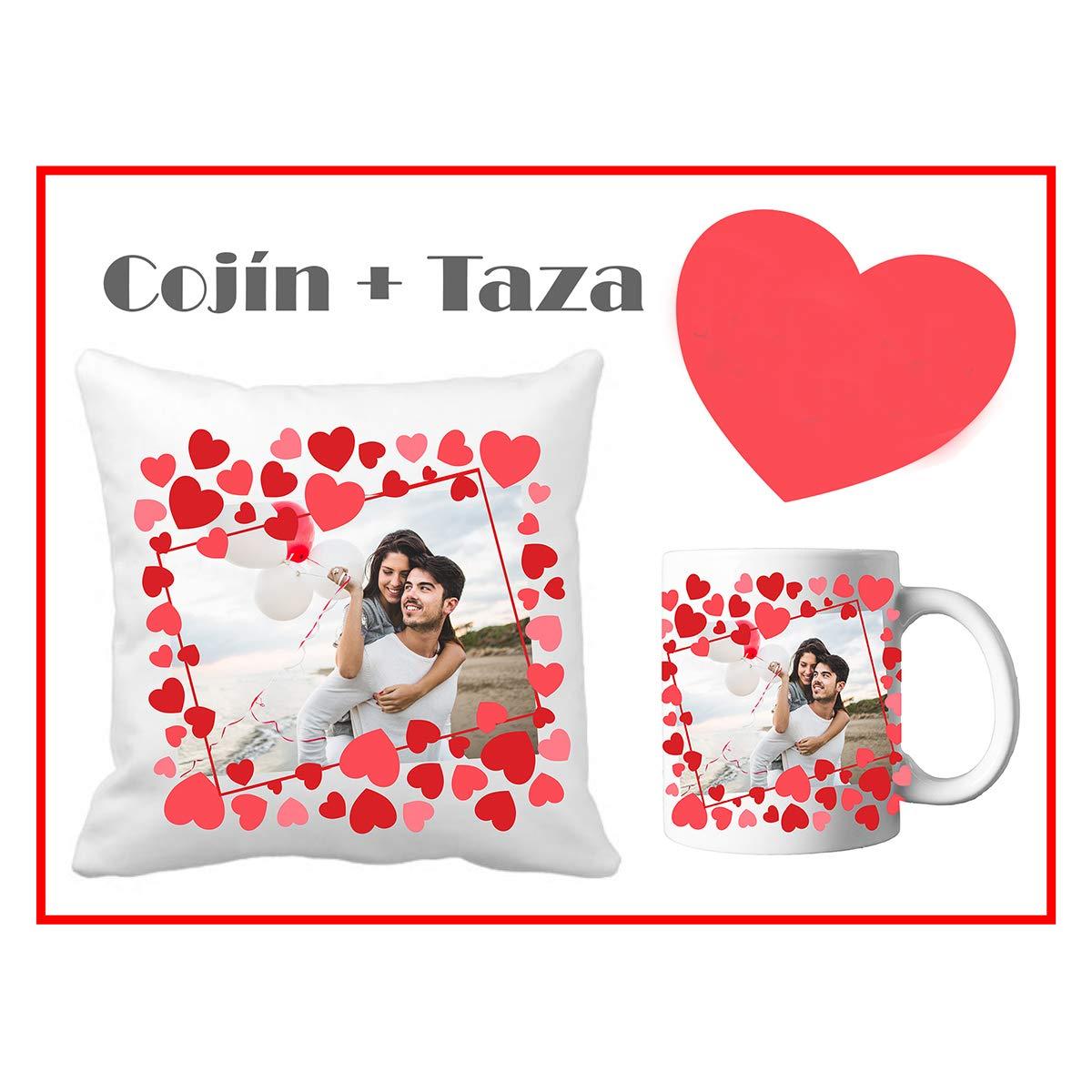 Regalo San Valentín/Cojín + Taza Personalizado con Foto ...