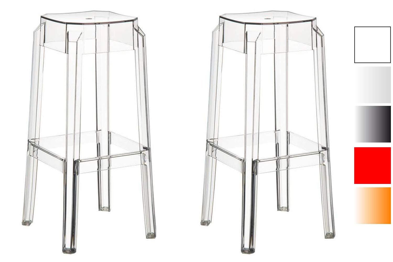 CLP 2er-Set Barhocker FOX I 2 x stapelbarer Hocker aus Kunststoff I transparent