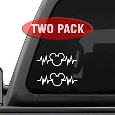 "Mickey Mouse Heartbeat 2PK - 6"" Car Truck Vinyl Decal Art Wall Sticker Disney Fun Adorable Cute Life: Automotive"