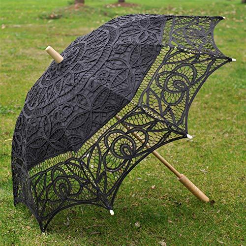 (Topwedding Battenburg Lace Outdoor Wedding Parasol Bridal Shower Umbrella, Black)