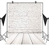 MEETS 5x7ft Fashionable Buildings Backdrop Wood Floor White Brick Wall Background Photo booth studio props YouTube Backdrop MT420 …
