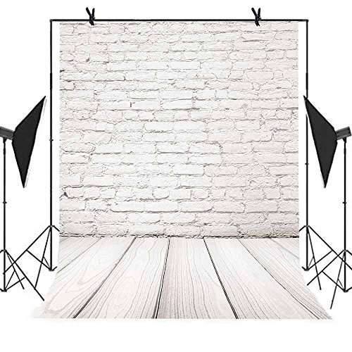 MEETS 5x7ft Fashionable Buildings Backdrop Wood Floor White Brick Wall Background Photo booth studio props YouTube Backdrop MT420 … by MEET's story