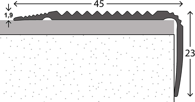 23 mm x 45 mm x 1,0 m Silber verschiedene Gr/ö/ßen Treppenwinkel Abdeckprofil Winkelleiste Treppenleiste Treppenkantenschutz