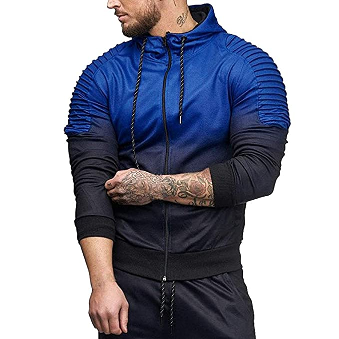 COOKI Mens Casual Pleated Splicing Zip up Long Sleeve Fashion Hoodie Hooded Sweatshirt Jacket Outwear Zipper M-3XL