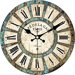 MEISTAR French Country Style14 Inch Wooden Wall Clocks,Classic Khaki Easy to Read Round Wall Clock,Cafe and Coffee Bar Decor Roman Numerals Wall Clock