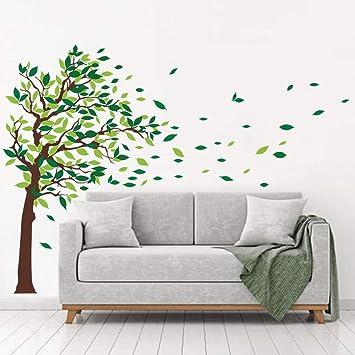 Decalmile Wandaufkleber Baum Wandsticker Grüne Blätter Wohnzimmer Schlafzimmer  Wanddeko