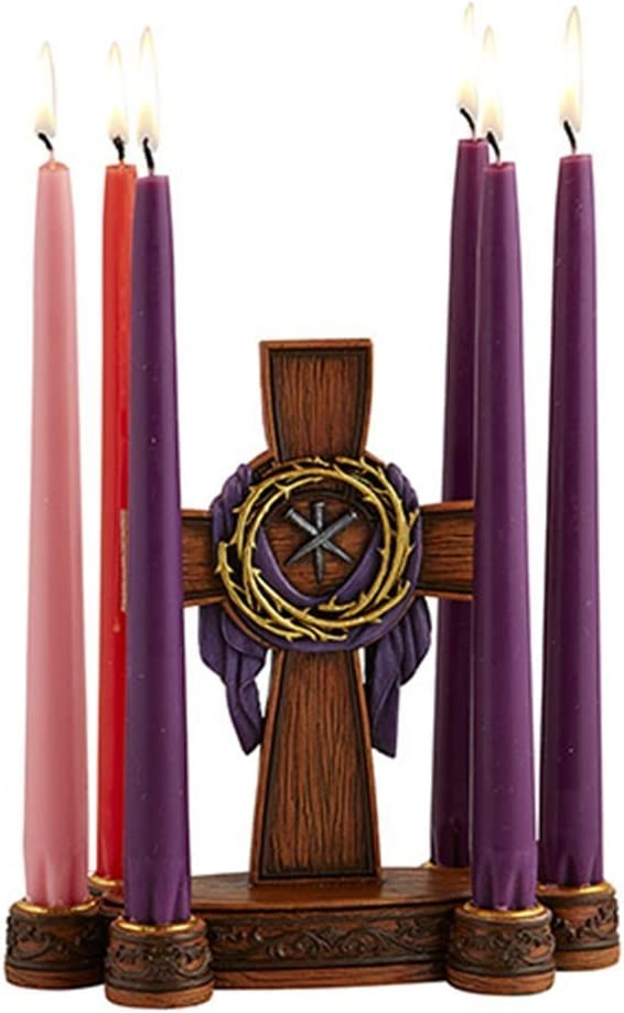 Easter Centerpiece Table Decorations Cast Resin Wood Cross with Crown of Thorns and Nails Lent Candle Holder, 8 Inch