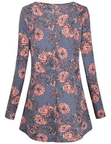 - FANSIC Women Floral Tops,Long Sleeve Empire Waist A Line Flowy Tunics Blouses (XX-Large, Gray and red)
