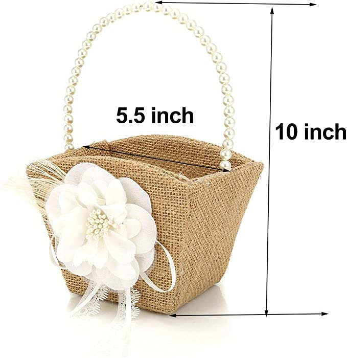 16 GKKXUE 1 PC Wedding Flower Basket Decor Delicate Rattan Woven Flower Basket Flower Girl Tote Flower Basket Scattering Petals,A-16 21CM