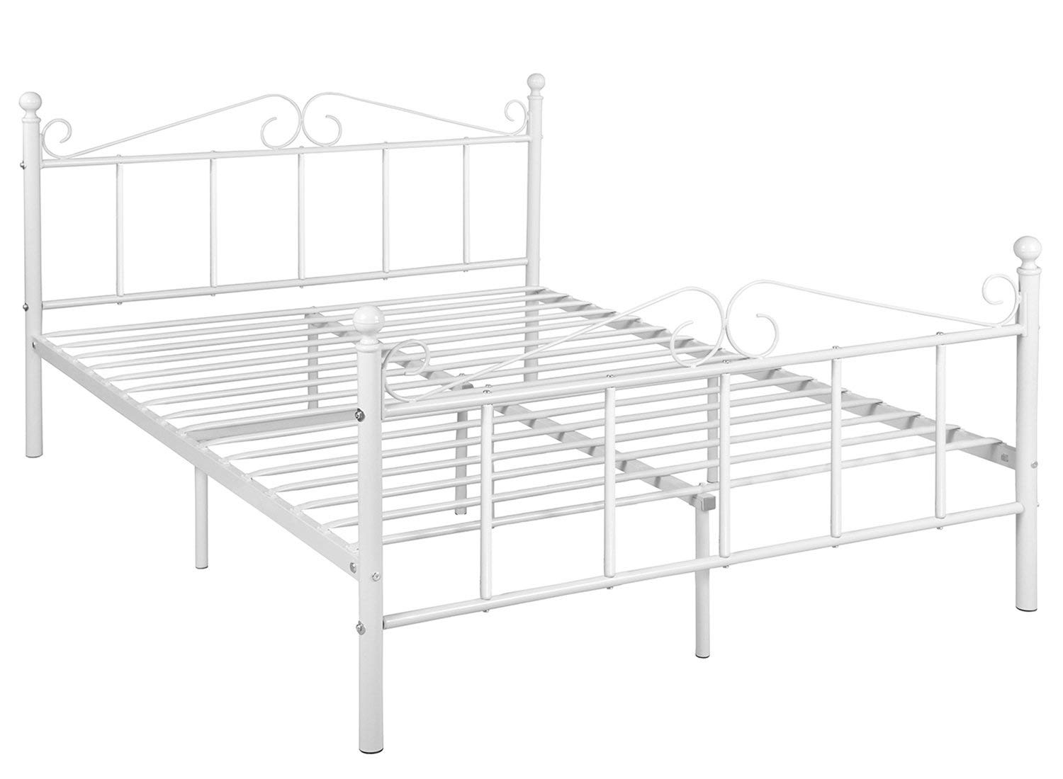 GreenForest Full Size Metal Bed Frame with Headboard and Footboard Mattress Foundation Platform Box Spring Replacement,White