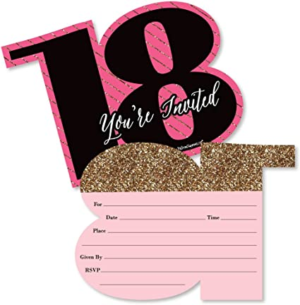 Amazon.com: Chic 18th Birthday - Pink, Black and Gold - Shaped ...