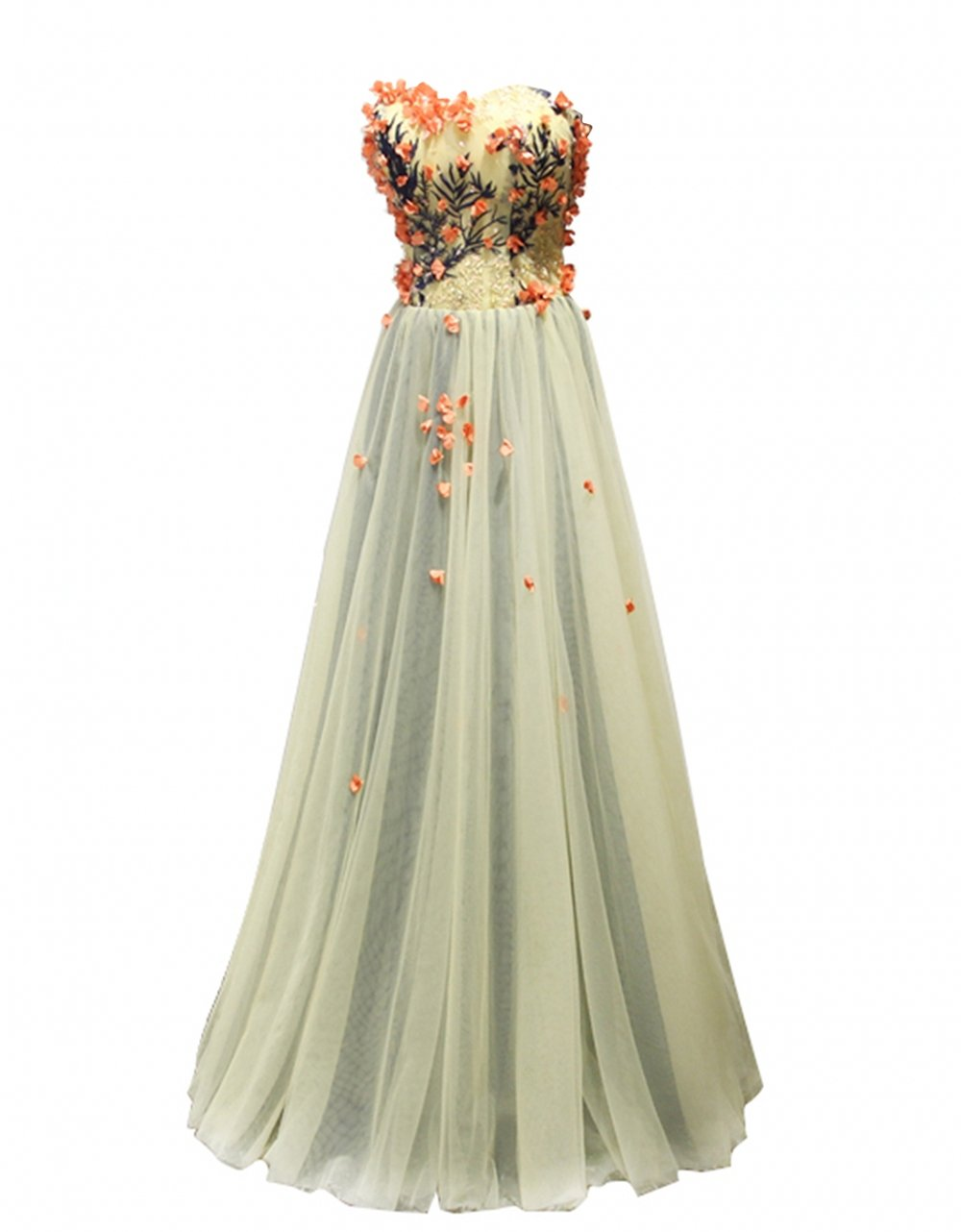 King's Love Women's Embroidery Flower Tulle Corset Long Evening Prom Dresses Grey US24W