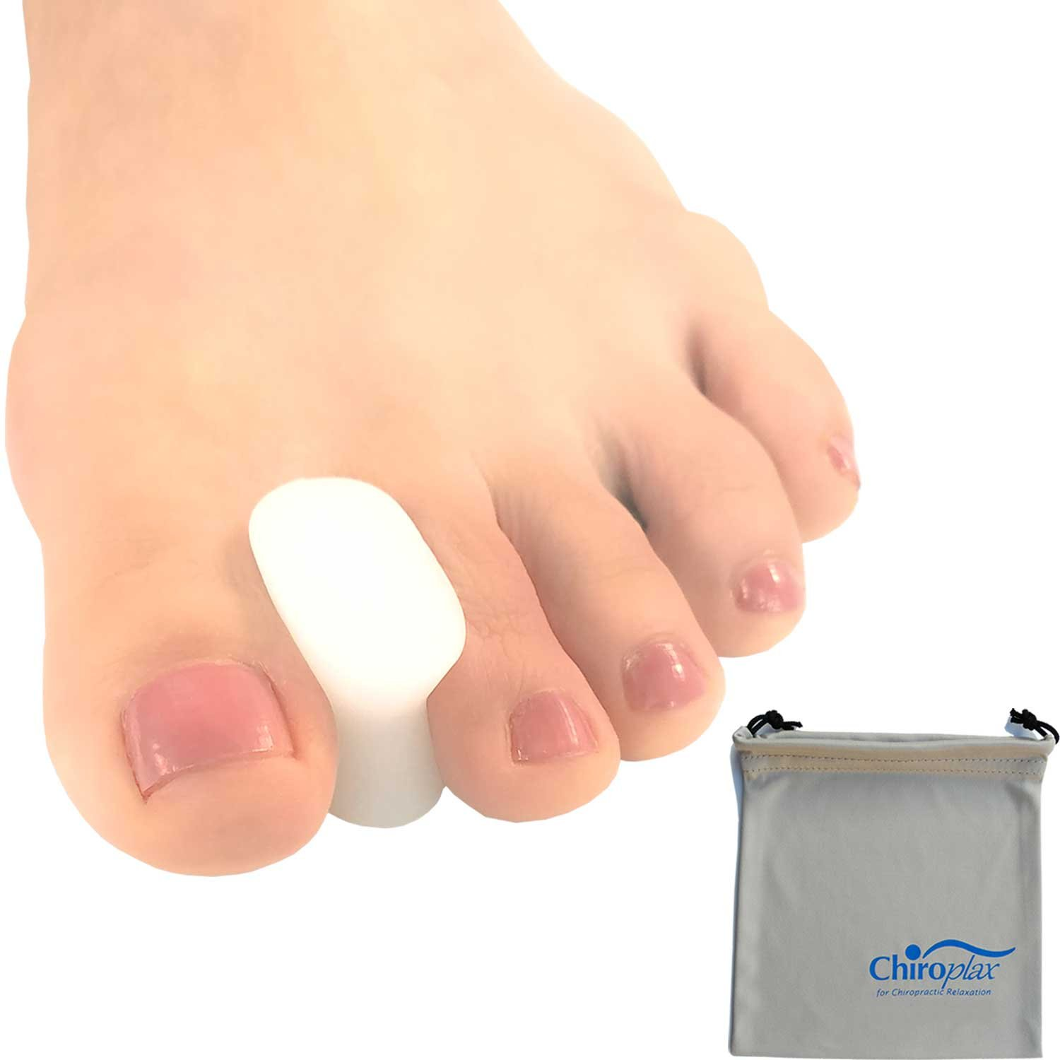 Chiroplax Gel Toe Spacers (6 Pieces+ 1 Pouch) Toe Separator Spreader for Bunion Pain Relief (Medium)