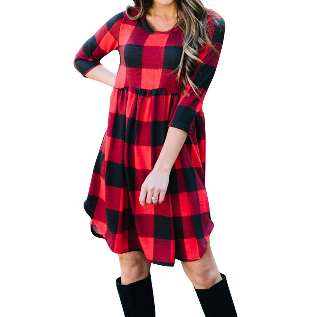c0fbc0bd58bdd Casual Women Dresses Autumn Winter Red Plaid Printed 3 4 Sleeve Boat Neck Loose  Dress S-XXL at Amazon Women s Clothing store