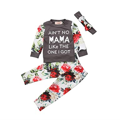5493ec05d59e Amazon.com: Kids Baby Girls Floral Clothes Ain't No Mama Like The ...