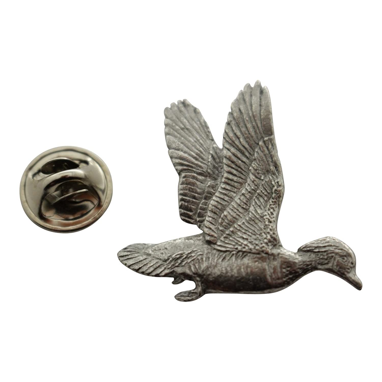 Wood Duck Flying Pin ~ Antiqued Pewter ~ Lapel Pin ~ Sarah's Treats & Treasures